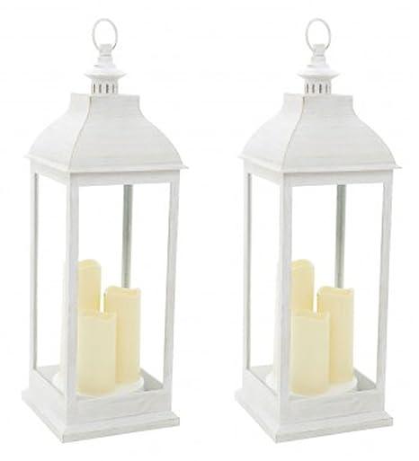 Lanterne Bianche Da Esterno.Smart Set Di 2 Lanterne Da Giardino Grande Colore Crema Amazon