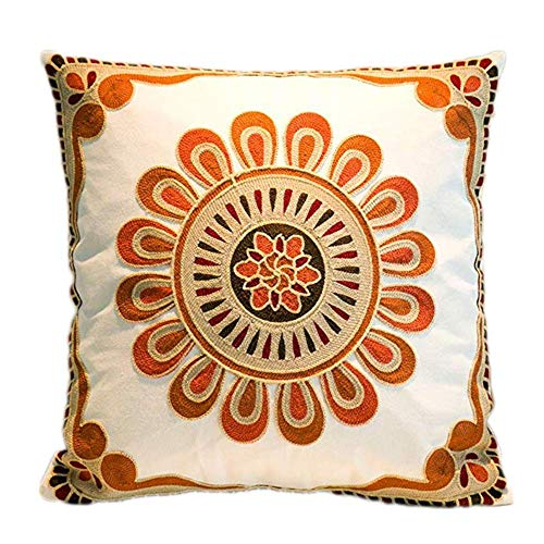 Decorate Square Throw Pillow Cover, Embroidery Pattern -100% Cotton, Multi-color (18x18 in.) ()