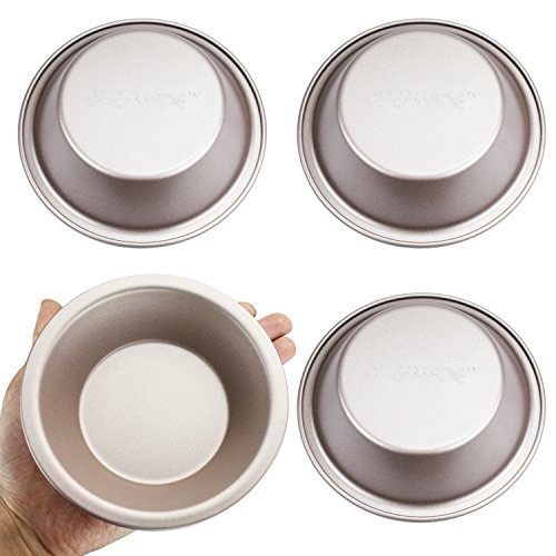 CHEFMADE 4Pcs Non-stick 5 Inch Mini Round Pie Tins,Heavy-duty Carbon Steel FDA Approved, Oven Roasting Hamburger Bread Baking Mini Egg Tart Pork Pie Pan(Champagne Gold)