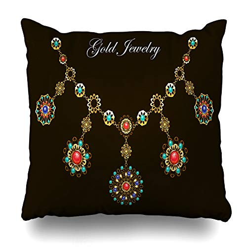 Ahawoso Throw Pillow Cover Square 20x20 Inches Necklace Red Gem Ethnic Gold Semiprecious Stones Lapis Carnelian Boho Gemstone Medallion Turquoise Cushion Case Home Decor Pillowcase ()