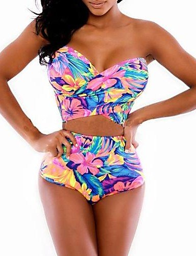 skt-swimwear Damen Colorful Tankinis, High Rise/Floral Halfter