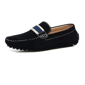 FuweiEncore Zapatillas Mocasines para Hombre, Mocasines de conducción para Hombre Gamuza de Cuero Genuino Penny Comfort Mocasines náuticos (Color : Negro, ...