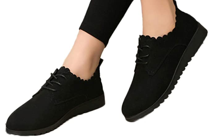 55df470708b0 Hemlock Women Office Work Shoes Flat Ankle Boots Lace Up Short Boots Suede  School Walking Women Boots