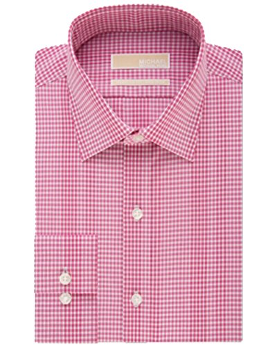 Michael Kors Men's Regular Fit Dark Pink Gingham Dress Shirt 17 32-33 (Dark Pink Gingham)