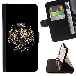 - Tribal Warrior Crest - - Prima caja de la PU billetera de cuero con ranuras para tarjetas, efectivo desmontable correa para l Funny HouseFOR Samsung Galaxy Note 4 IV