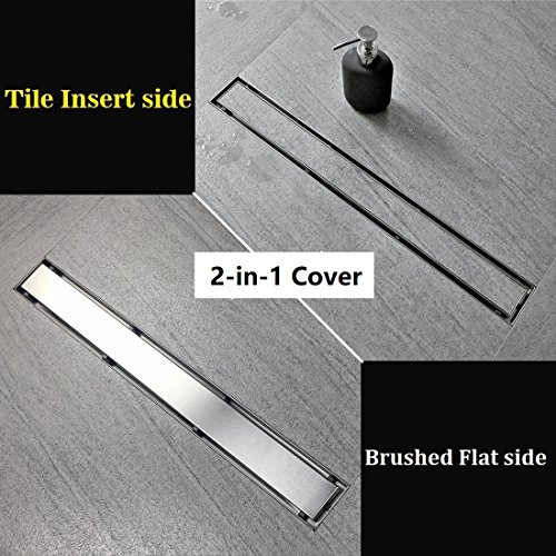36-Inch Linear Shower Drain- With 2-in-1 Flat & Tile insert Cover -304 Stainless Steel, CUPC Certified, Includes Adjustable leveling feet, Hair Strainer & Threaded Adaptor
