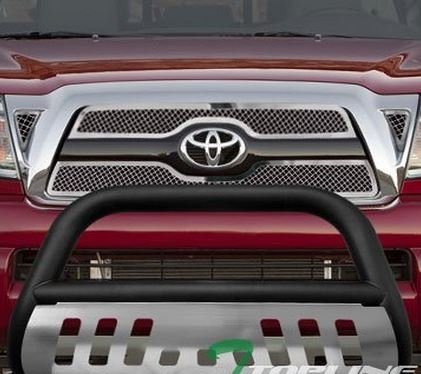 Plates Stainless Skid Steel Racing - R&L Racing MATTE BLACK HAMMERED Stainless Steel Bull Bar Brush Bumper Grille Guard Chrome Skid Plate Tacoma