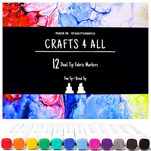 Crafts 4 ALL Fabric Markers Pens Permanent 12 Bright Dual TIP Fabric Paint, Child Safe, Water-Based & Non-Toxic. Markers Stained fine Writers Art (Permanent Red Light)