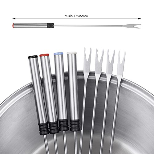 Aicok Stainless Steel Fondue Pot 1500W Fast Heating Up, Nonstick Interior for Easy Cleanup, 8 Colored Forks by Aicok (Image #6)