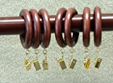 "1-3/8"" Solid Wood Drapery Rings with brass clips in Mahogany finish"