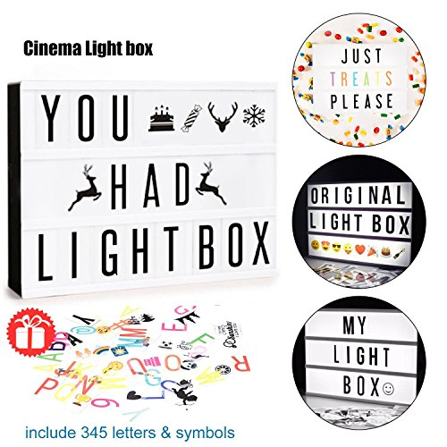 Cinematic LED Light Box Sign | All in One Kit Including Letters, Emoji & Numbers Total 345 Tiles | USB or Battery Powered | Gift Wrap Available