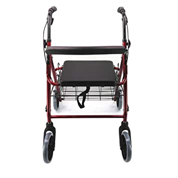 HYJ Andadores Ancianos Rollator de Cuatro Ruedas Drive Medical, con Ruedas y Asiento Plegable para Personas Mayores, Rojo: Amazon.es: Deportes y aire libre
