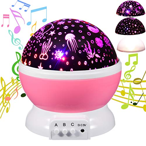 HAMPAY Baby Starry Ocean Music Night Light Projector Lullaby for Kids,Moon Stars Projector 12 Soft Music 9 Color Romantic Night Lighting Lamp,USB Cable/Batteries Powered for Nursery, ()