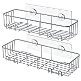 SMARTAKE 2-Pack Shower Caddy, Rustproof Bathroom Shelf Organizer with Hooks, SUS304 Stainless Steel Wall Rack for Dorm, Toilet, Bath and Kitchen
