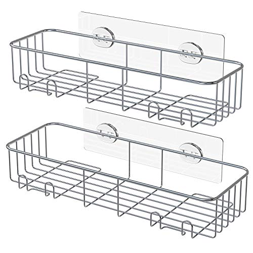 (SMARTAKE 2-Pack Shower Caddy, Rustproof Bathroom Shelf Organizer with Hooks, SUS304 Stainless Steel Wall Rack for Dorm, Toilet, Bath and Kitchen)