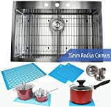 drop in kitchen sink with faucet - 33 Inch Topmount / Drop In Stainless Steel Kitchen Sink Package – 16 Gauge Single Bowl Basin - Ideal For Home Improvement, Renovation & Remodel - Complete Sink Pack + Bonus Kitchen Accessories