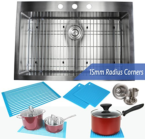 33 Inch Topmount / Drop In Stainless Steel Kitchen Sink Package – 16 Gauge Single Bowl Basin - Ideal For Home Improvement, Renovation & Remodel - Complete Sink Pack + Bonus Kitchen Accessories (Package Stainless Sink)