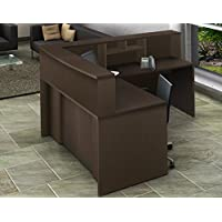 OfisLite 4 Piece Reception Desk Center Model 2136 Complete Group, Espresso