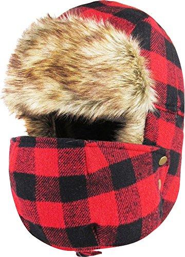 Aviator Bomber Hat (KBW-623 RED-BLK Buffalo Plaid Mask Trooper Trapper Hat Winter Cap)