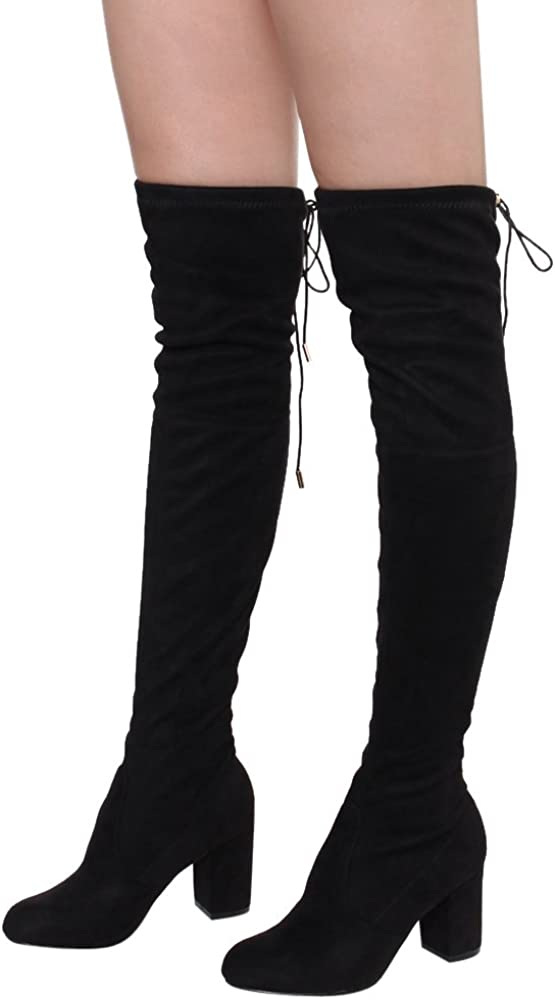ShoBeautiful Womens Thigh High Boots Stretchy Over The Knee Chunky Block Heel Boots