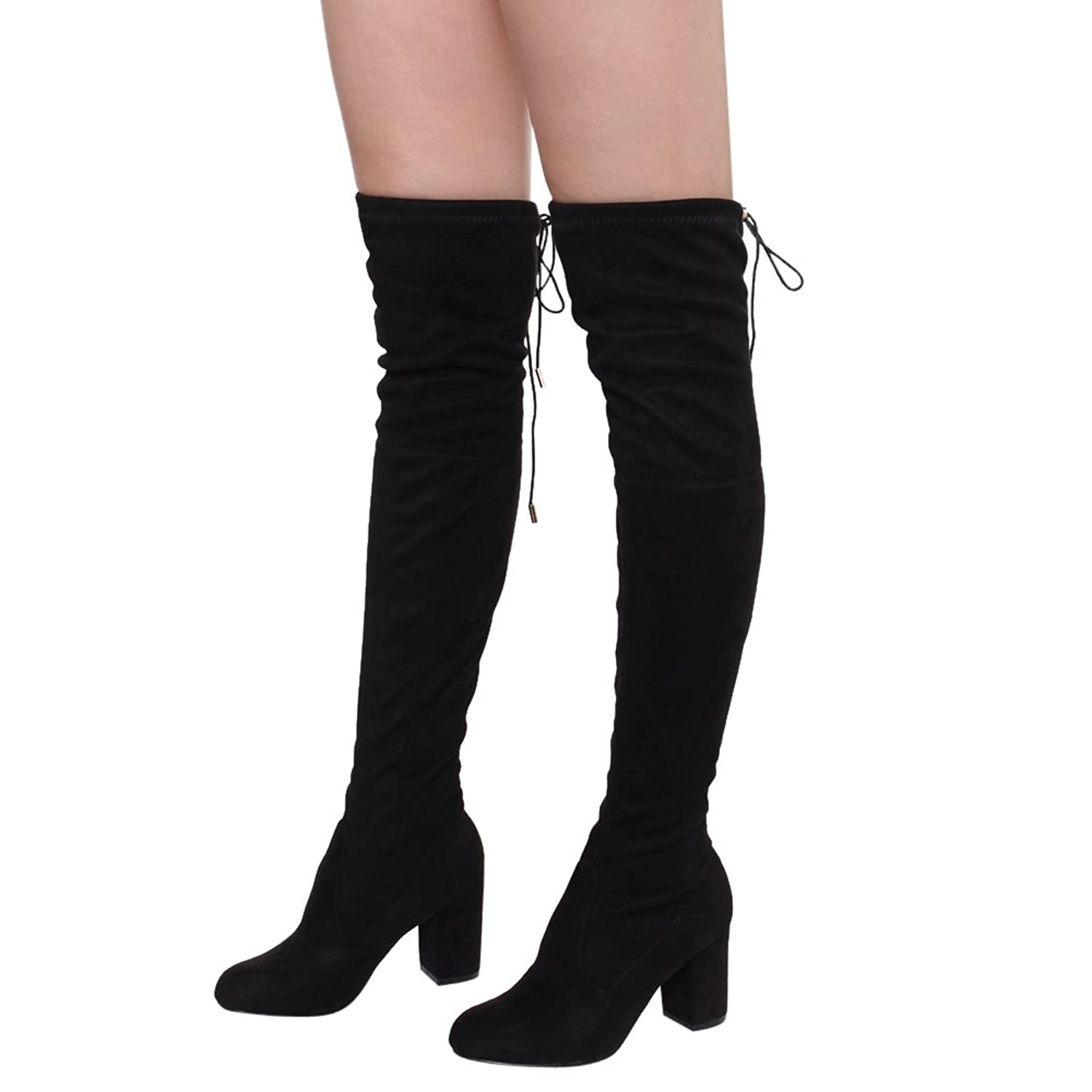 Women's Over The Knee Boots Stretchy Thigh High Chunky Block Heel Boots