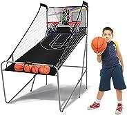 DORTALA Foldable Double Shot Basketball Arcade Game, 2 Basketball Hoops, 8 Game Options, LED Scoring Display a