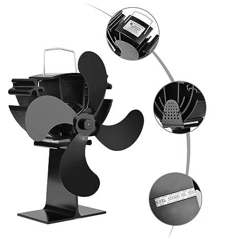 YLOVOW Ventilador Alimentado por Calor Estufa, operación silenciosa 4-Blade Calor Alimentado Estufa Ventilador