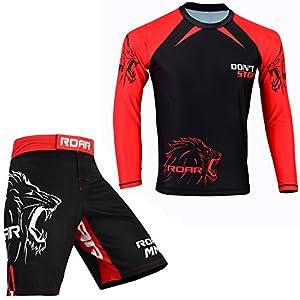 ROAR MMA Rash Guard BJJ Blank UFC Fight Half /& Long Sleeve Grappling Gym Wear