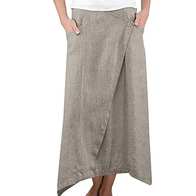 SAYEI_Womens Skirts Falda Larga de algodón y Lino para Mujer ...
