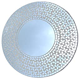 Lulu Decor, Crystal Flower Mosaic Wall Mirror, Decorative Handmade Beveled Round Mirror, Diameter 23.5\