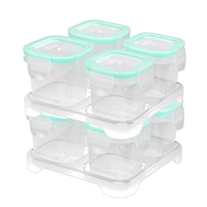 Matyz 4 Ounce Baby Food Storage Containers with Airtight Lids & Stackable Tray (Set of 8, Mint Green) - Microwave Freezer Dishwasher Safe - Medium Size Square Container for Easily Portion - BPA Free