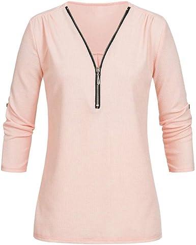 ManxiVoo Women V Neck Half Zipper Pullover Sweater Casual