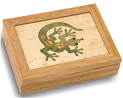 MarqART Wood Art Gecko Box - Handmade USA - Unmatched Quality - Unique, No Two are The Same - Original Work of Wood Art. A Gecko Gift, Ring, Trinket or Wood Jewelry Box (#4125 Gecko Lizard 4x5x1.5)