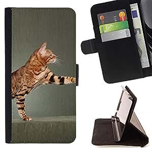 Stuss Case / Funda Carcasa PU de Cuero - Reproducción Toyger Ocicat gato de Bengala - Motorola Moto E ( 2nd Generation )