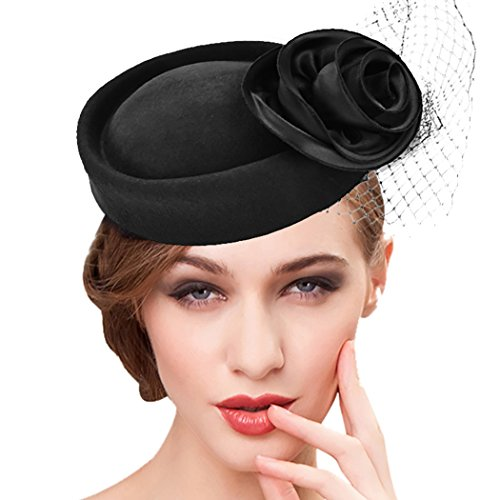 Pill Fancy Dress Costume (Pillbox Hat, Aniwon Wedding Hat with Veil Vintage Bow Fascinator Hats for Women (C Black))