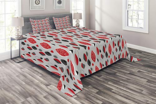 Ambesonne Mid Century Coverlet Set King Size, Abstract Oval Leaf Forms with Different Designs and Color Combinations, 3 Piece Decorative Quilted Bedspread with 2 Pillow Shams, Red Black Pale Grey ()