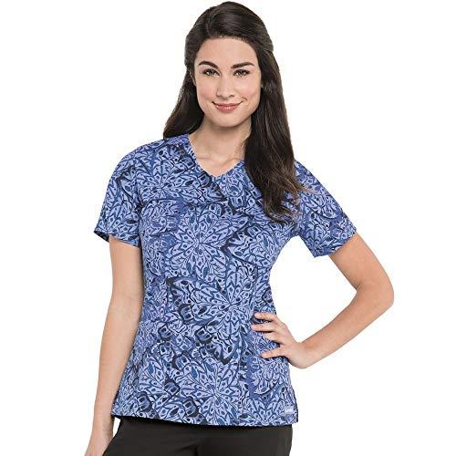 (Landau Women's V-Neck Butterfly Print Tunic Scrub Top X-Large)