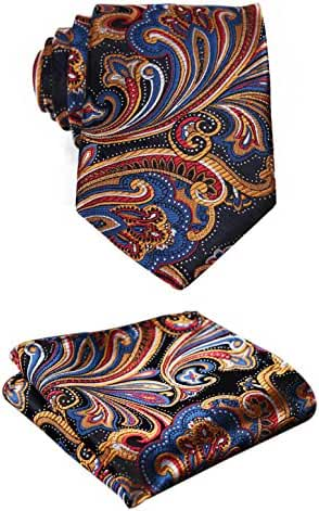 SetSense Men's Floral Jacquard Woven Tie Necktie Set 8.5 cm / 3.4 inches in Width Orange / Navy Blue