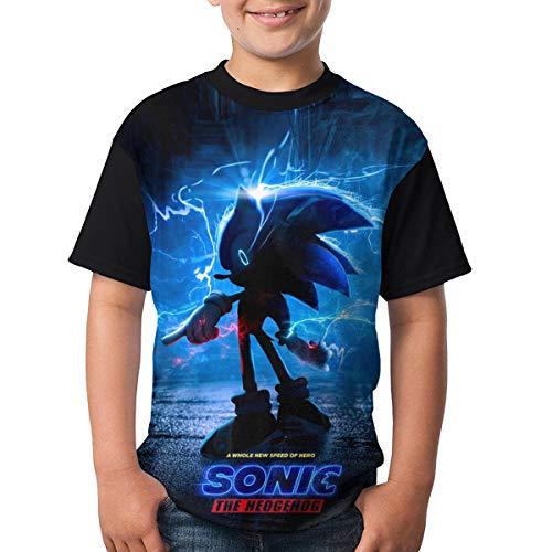 Troom Speed of Hero Sonic-Hedgehog Movie 2019 Boys and Girls Sport Shirt XS Black -
