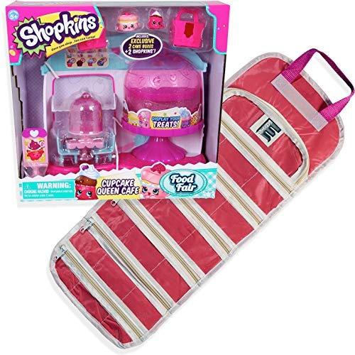 Shopkins Cupcake Queen Cafe Plus Compatible EASYVIEW Toy Storage Organizer Case Bundle (Pink)  -