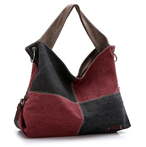 (Ecokaki(TM) Fashion Hit Color Canvas Shoulder Bags Handbag Ladies Crossbody Totes Vintage Oversized Hobo Purse,)