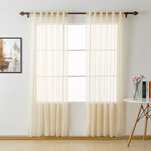 Deconovo Home Decorations Sheer Curtians Sheer Voile Curtains Rod Pocket and Back Tab Sheer Curtain Panels for Girls Room 52 W x 84 L Inch Vanilla 2 Panels (Sheers Back Tab)