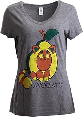 Ann Arbor T-shirt Co. Avogato   Funny Cute Avocado Cat Joke Arigato Graphic V-Neck T-Shirt for Women