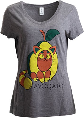 Avogato | Funny Cute Avocado Cat Joke Arigato Graphic V-Neck T-Shirt for Women-(Vneck,L) Grey