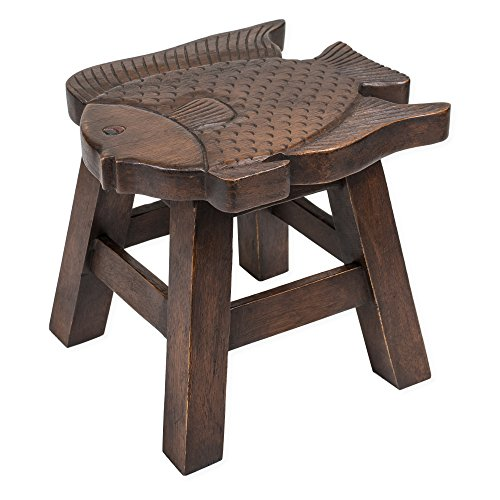 Fish Stain Design Hand Carved Acacia Hardwood Decorative Short Stool - Hand Carved Fish