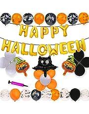 Ballonnen, 34 stuks, Happy Halloween ballonnen, set, festival party decoratie, Halloween decoratieset, Happy Halloween decoratie, slinger, geschikt voor Halloween-party, verjaardagsfeest (34 ballonnen en 1 pomp)