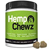 Hemp Chewz Hip & Joint Care for Dogs - 100% Organic Hemp Oil Infused Dog Treats for Joint Pain Relief & Mobility Support + Glucosamine, Chondroitin, Organic Turmeric, and MSM - 120 Soft Chews