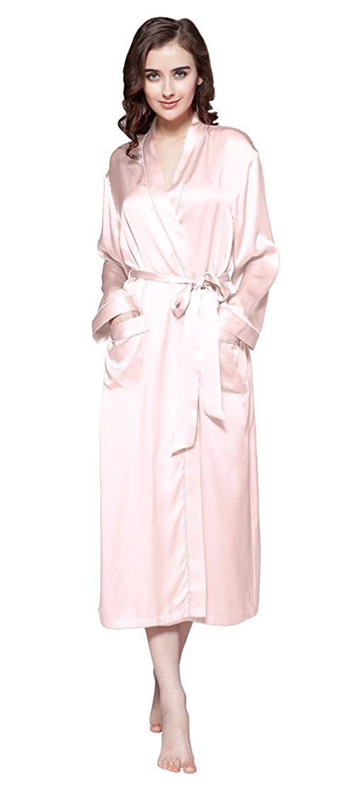 Lilysilk Silk Robe For Women With Pockets Long Kimono Mulberry 22 Momme Contra Trim Full Length 100% Pure Silk (18/XXL, Light Pink) by LilySilk