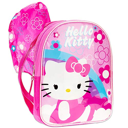 Hello Kitty Toddler Preschool Backpack with Rain Hood (Hello Kitty School Supplies)