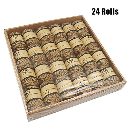 KINGLAKE 787 Feet 2mm 3 Ply Natural Jute Twine Best Arts Crafts Gift Twine Christmas Twine Durable Packing String,Box of 24 Rolls X 32.8 Feet Gift Wrapping Twine